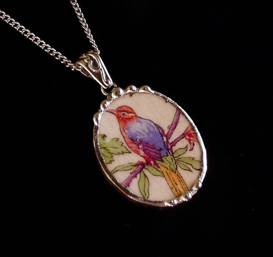 Antique bird of paradise oval broken china jewelry pendant necklace made from broken china