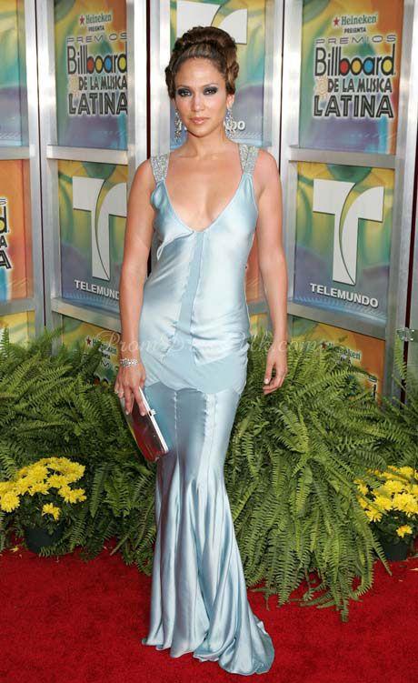 Blue Satin Column  Long V-neck Celebrity Dress