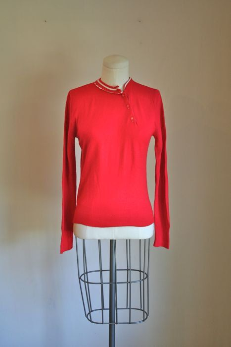 vintage 60s sweater  CANDY CANE red soft knit top / S by MsTips, $22.00