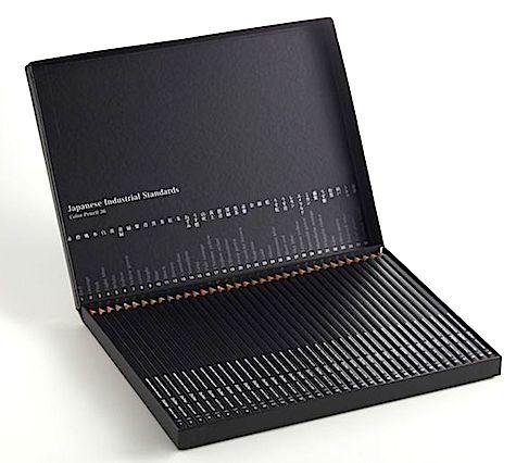 Black box of colored pencils