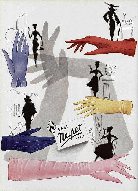Enchantingly chic vintage glove fashions. #vintage #gloves #ad #fashion #1940s #1950s