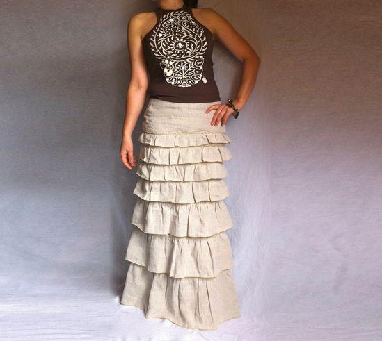 Layered Ruffle Long Skirt