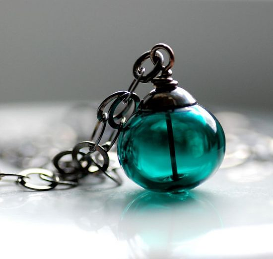 Dark Teal Glass Necklace Artisan Glass Pendant by WildWomanJewelry, $42.00