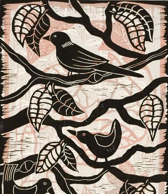 Birds on a Branch a color linocut by Mariann Johansen-Ellis...#birds