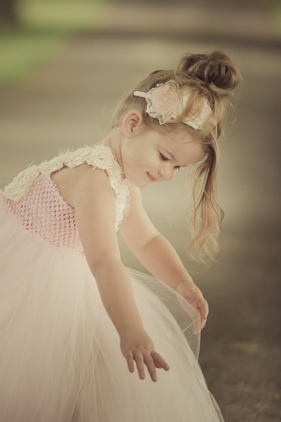 Light Pink & Cream flower girl tutu dress
