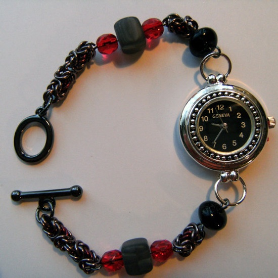 Gothic Byzantine and bead watch by Madmogjewellery on Etsy, £20.00