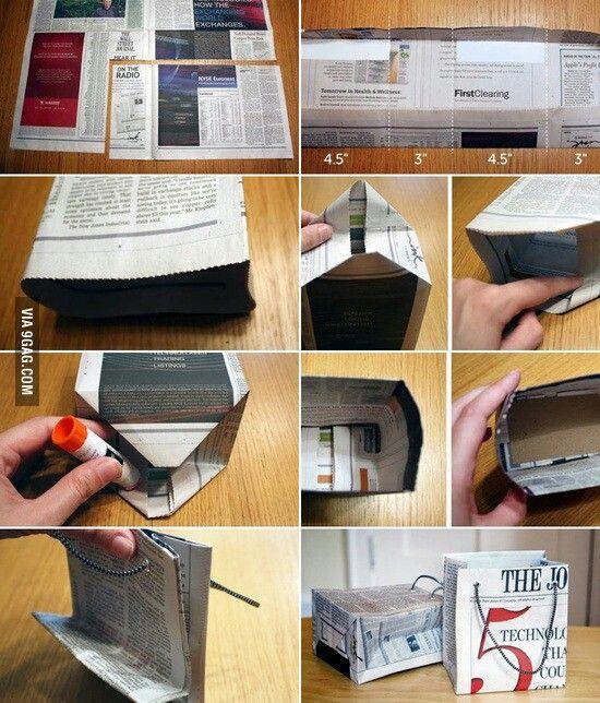 DIY gift bag from newspaper