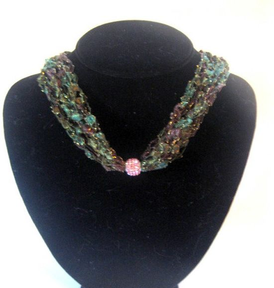 Handmade Green Crochet Necklace Pink Pave Crystal Bead by Moomettes Crochet