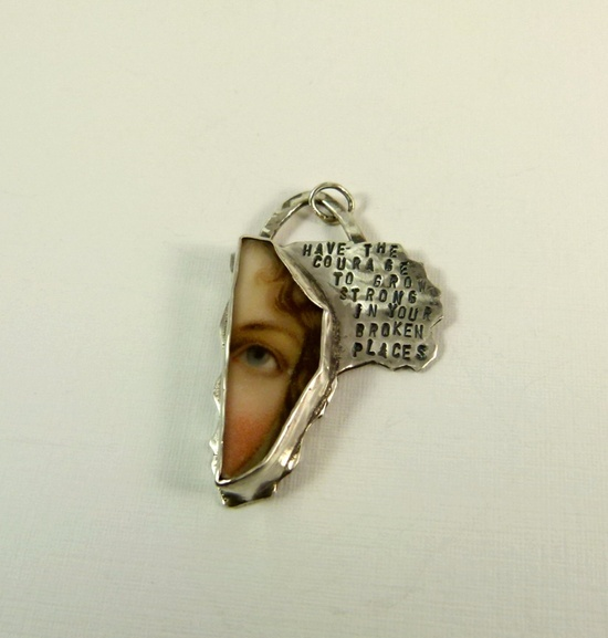 Have The Courage To Grow In Your Broken Places - repurposed sterling jewelry by robinwade on etsy