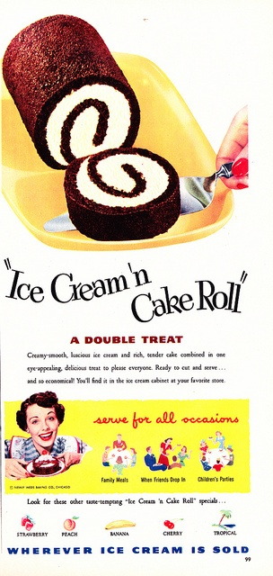 A delightful 1950s Ice Cream Cake Roll. #cake #food #vintage #roll #ice_cream #ad #1950s