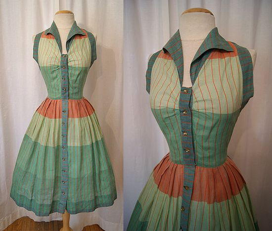 Darling 1950s striped cotton summer dress with rhinestone buttons. #vintage #1950s #dresses #fashion