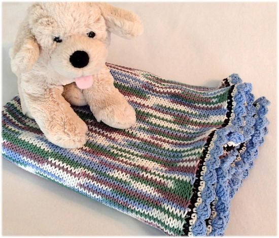 Knitted baby boy blanket, cotton