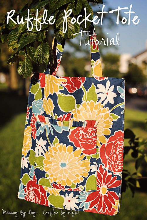 Ruffled Pocket Tote Bag - Free Sewing Tutorial by Mommy by Day, Crafter by Night
