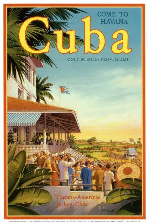 Cuba and American Jockey vintage travel poster by Kerne Erickson