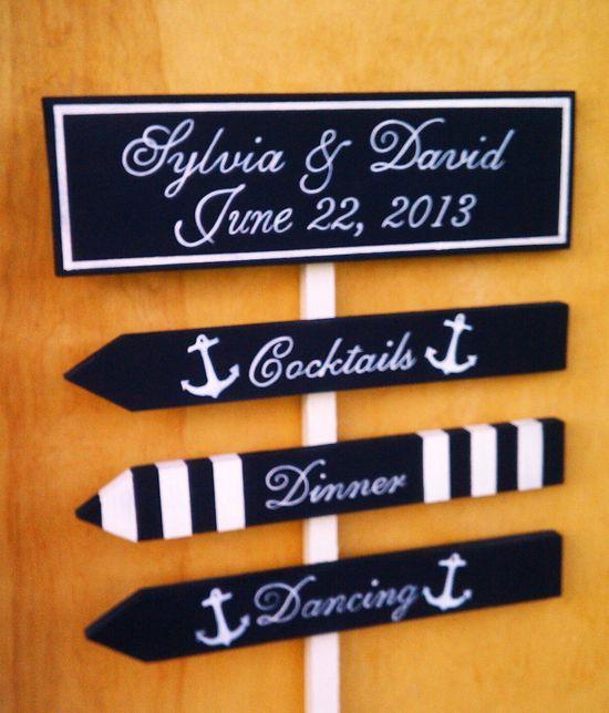 Nautical Wedding Signs ANCHOR, STRIPES, STARFISH, Beach Weddings, Military Weddings, Boat Weddings 4 Sign Set. $75.95, via Etsy.