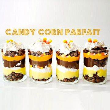 These Candy Corn Parfaits are a fun and kid-friendly Halloween treat!