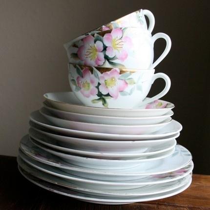 Noritake Azalea Demitasse Cup & Saucer Set, vintage hand painted