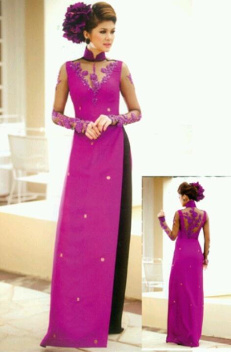 Ao dai modern purple