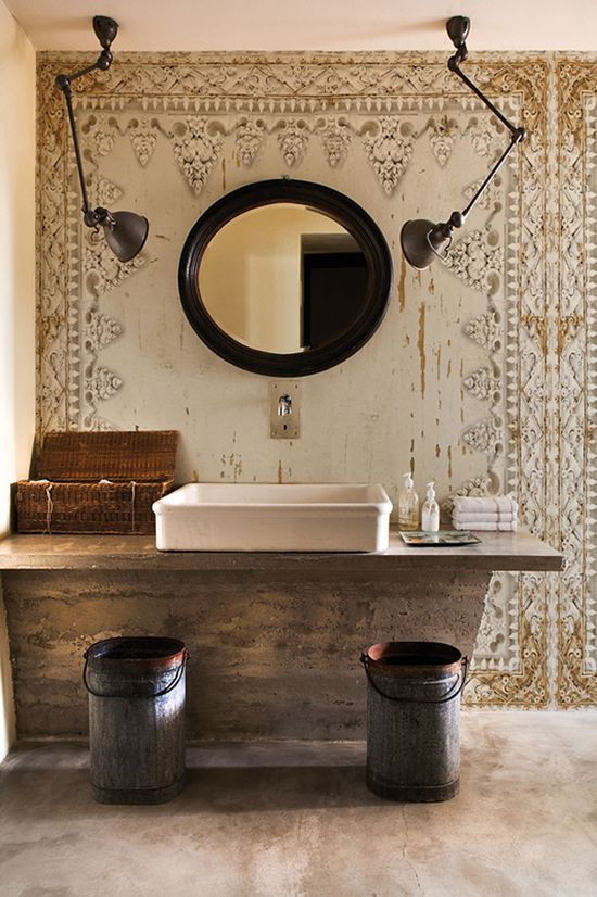modern mirror in combination with old wall design #antique #with #modern