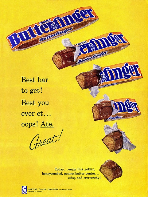 Butterfingers in this vibrantly hued 1950s ad. #food #ad #Halloween #vintage #retro #candy #chocolate #Butterfing #1950s #fifties