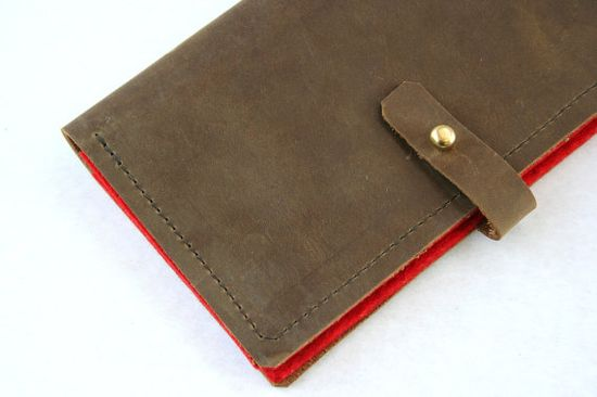 Leather and wool felt wallet or phone case choose your by overlap, $48.00