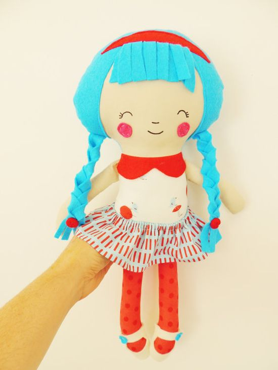 Fabric Doll Rag Doll Cloth Doll Blue Hair White Red by TashiBear, $39.00