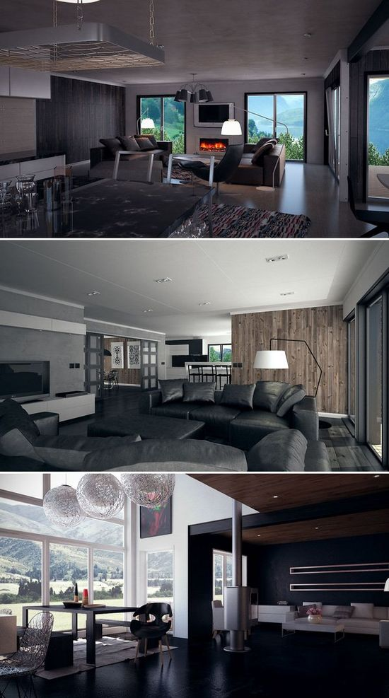 Interior designs in dark colors