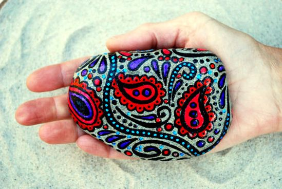 Bohemian Serenade /  Painted Stone / Sandi Pike by LoveFromCapeCod, $48.00