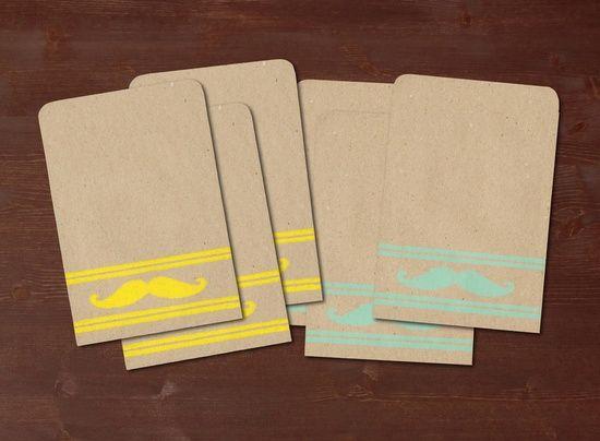 Mustache turquoise / yellow - 6 handmade gift