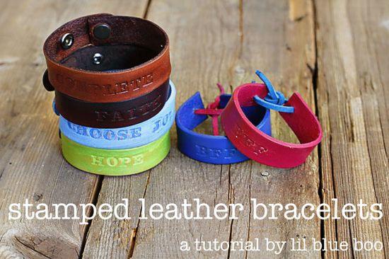 Stamped leather bracelets