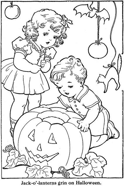 What a sweetly darling vintage children's colouring book page. #Halloween #kids #children #book #coloring #colouring #holidays #crafts #art