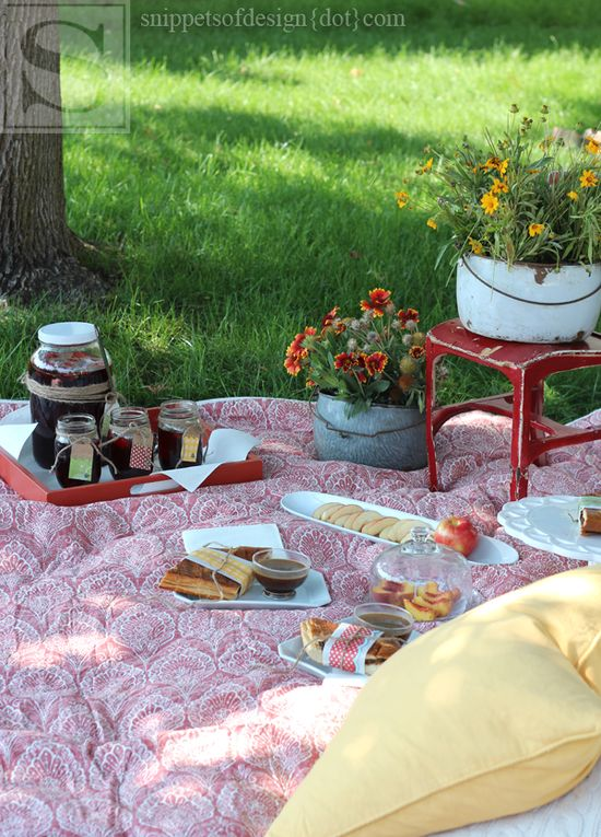 Hints of Summer Picnic Tablescape/Snippets of Design