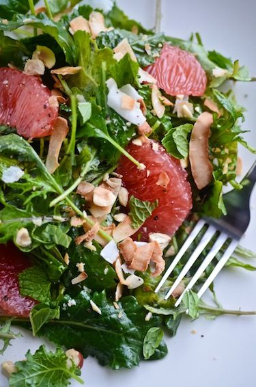 blissful eats with tina jeffers: kale grapefruit and coconut salad