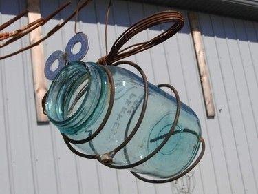 Antique Quart Jar Bird feeder Bug Great primitive garden by Junkfx, $25.00