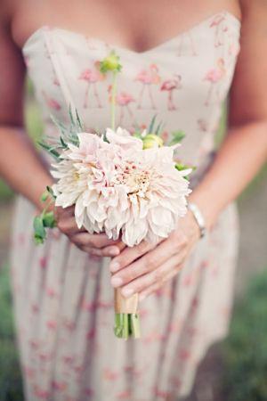 printed bridesmaids dresses + unique bouquets