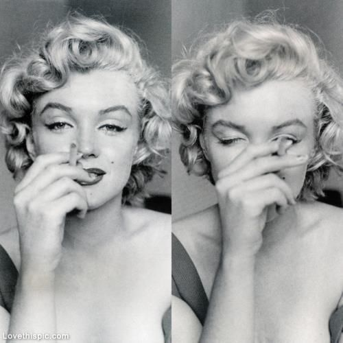 Marilyn Monroe with cigarette celebrities female celebs vintage smoke smile