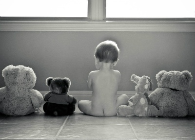 so cute: photo of baby with stuffed animals