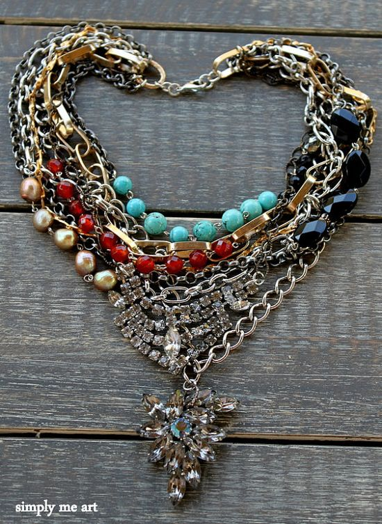 Vintage Rhinestone Turquoise Onyx and Semi Precious by simplymeart, $104.00