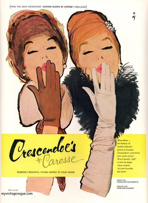 Crescendoe Caresse, 1960. #vintage #gloves #accessories #1960s