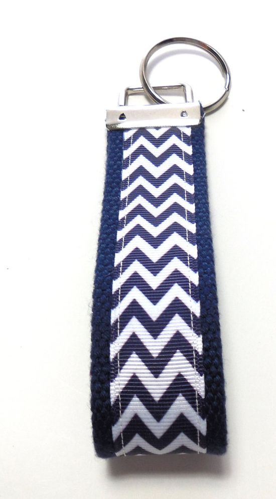 Navy Blue Chevron Wristlet Key Holder Key by GabbysQuiltsNSupply, $5.00