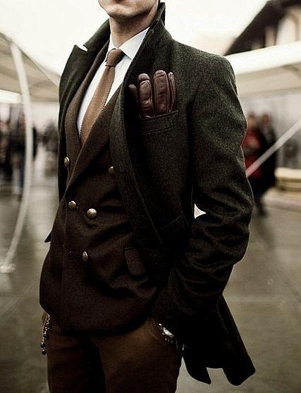? Masculine and Elegance mans' fashion apparel dark olive brown winter wear #gentleman #style