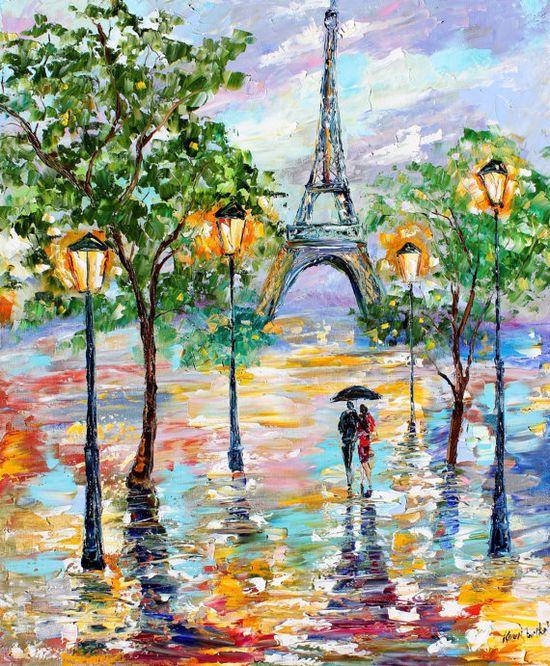 Original painting PARIS Rain Cityscape Modern by Karensfineart