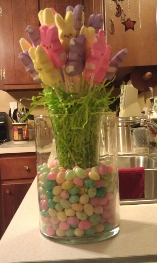 Peep and Jelly Bean Center Piece~cute and easy and inexpensive! #PeepsFan