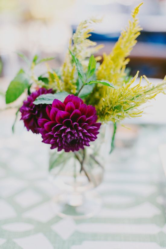 Pretty pop of floral color Photography by Milou Olin Photography / milouandolin.com/, Event Planning by Dream A Little Dream Events / dreamalittledream..., Floral Design by Natalie Bowen Designs / nataliebowendesig...