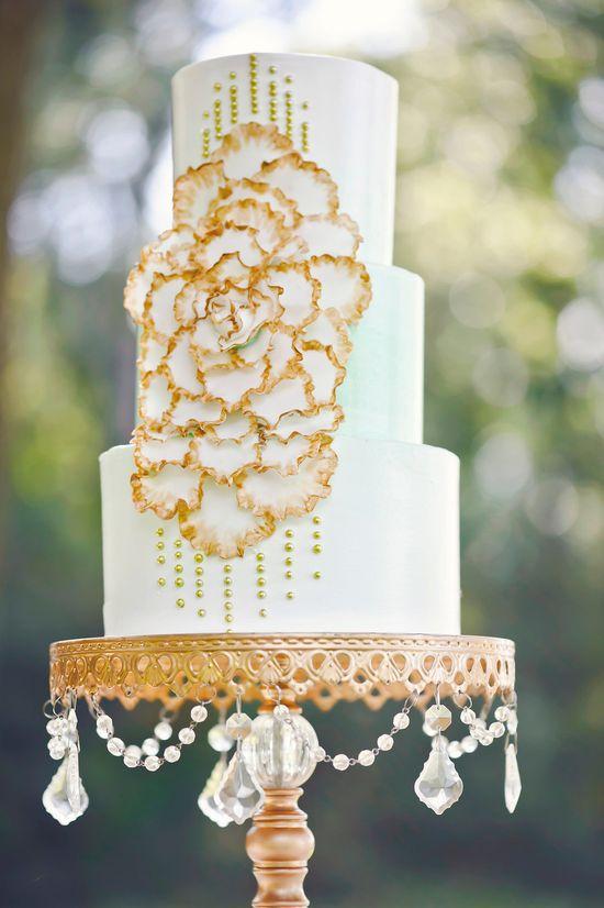 Mint + Gold bejeweled cake! Photography by amandadumouchellephotography.com/