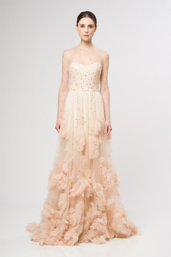 Blush pink  and gold wedding dress #wedding #dress #inspiration #details #gold #blushpink #pink