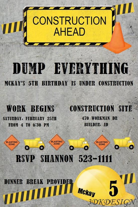 Boys construction birthday invitation