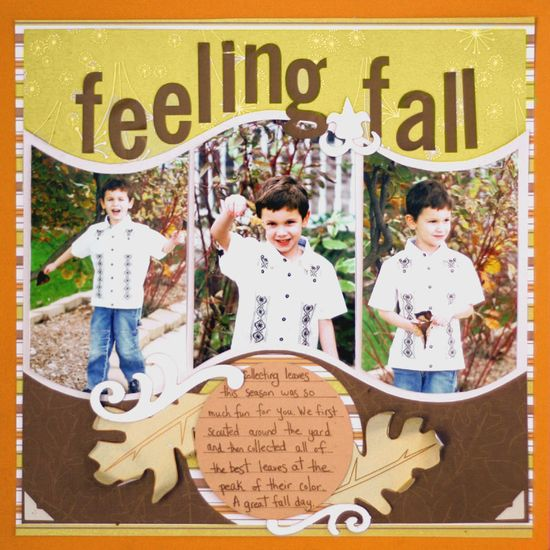 """Colorful """"Feeling Fall"""" Scrapbooking Page...Scrapbook.com."""