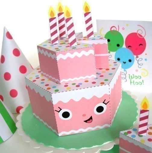Happy Birthday Strawberry Cake Party Playset Printable Paper Craft PDF 4.00$