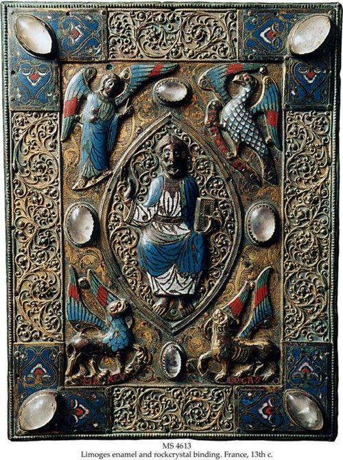 TLIMOGES GOSPEL BOOK COVER    Binding: Limoges, France, 13th c., upper cover of a Gospel book, originally on wooden boards